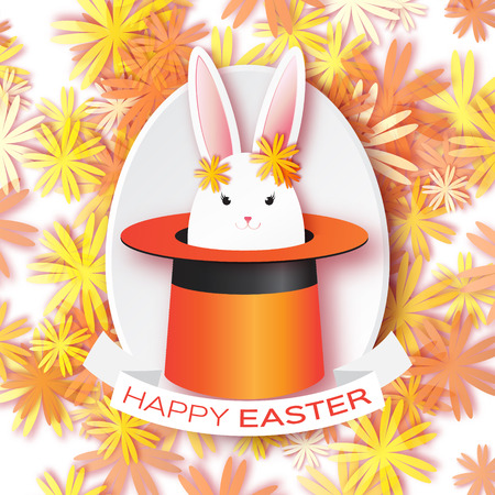 illusionist: Origami Orange Greeting card with Happy Easter - with white Easter rabbit. Bunny ears in magician or illusionist hat. Hiding rabbit. Spring Funny Bunny. Easter Bunny. Easter Egg
