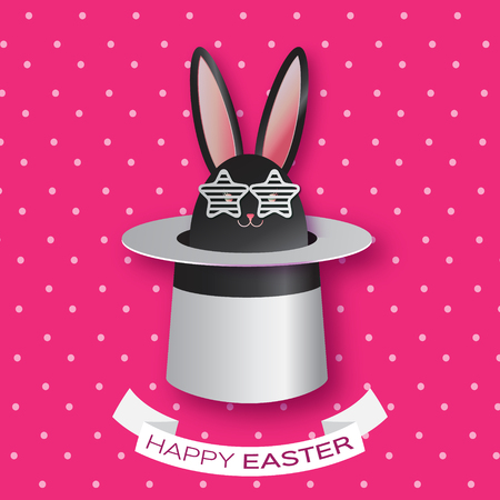 illusionist: Origami Pink Greeting card with Happy Easter - with Black Easter rabbit with white sunglasses. Bunny ears in magician or illusionist hat. Hiding rabbit. Spring Funny Bunny. Easter Bunny. Easter Egg