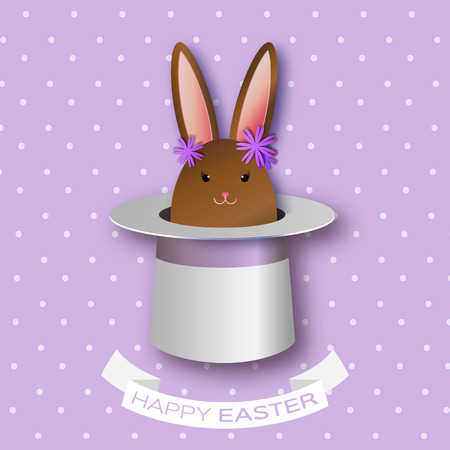 illusionist: Origami Purple Greeting card with Happy Easter - with Chocolate Easter rabbit and flowers. Bunny ears in magician or illusionist hat. Hiding rabbit. Spring Funny Bunny. Easter Bunny. Easter Egg Illustration