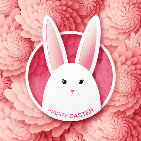 sunday: Red Greeting card with Happy Easter - with white Easter rabbit. Spring Funny Bunny. Easter Bunny. Easter Egg. Vector design illustration Illustration