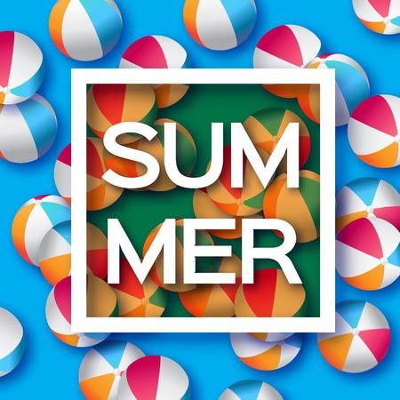 balon voleibol: Realistas de las bolas azules de la playa - caucho o material plástico. Fondo con el título de Verano y Marco cuadrado en el centro sobre fondo azul. Ilustración del vector