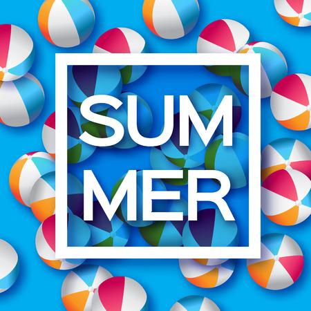 balon voleibol: Realistas de las bolas azules de la playa - caucho o material pl�stico. Fondo con el t�tulo de Verano y Marco cuadrado en el centro sobre fondo azul. Ilustraci�n del vector