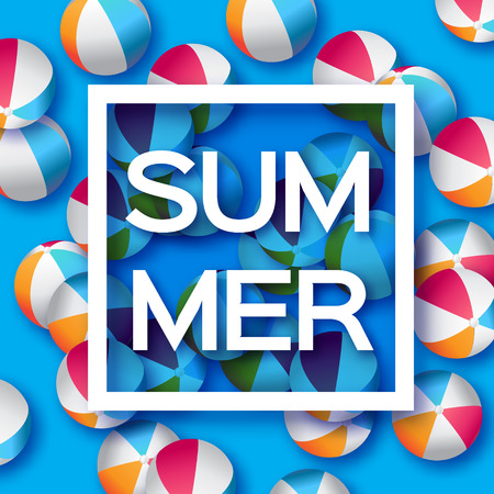 plastic material: Realistic Blue Beach Balls - Rubber or Plastic Material.  Background with Summer Title and Square Frame in center on blue background.  Vector Illustration Illustration
