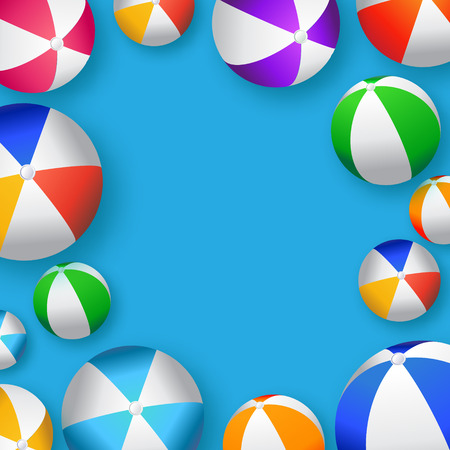 balon de voley: Realistic Colorful Beach Balls - Rubber or Plastic Material.Vector Illustration