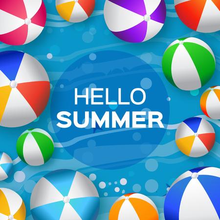 balon voleibol: Realistas Bolas de playa de colores - de goma o material plástico. Fondo con el Título Hola Verano y del marco del círculo en el centro. Ilustración del vector
