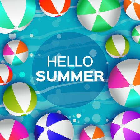 balon de voley: Realistas Bolas de playa de colores - de goma o material plástico. Fondo con el Título Hola Verano y del marco del círculo en el centro. Ilustración del vector