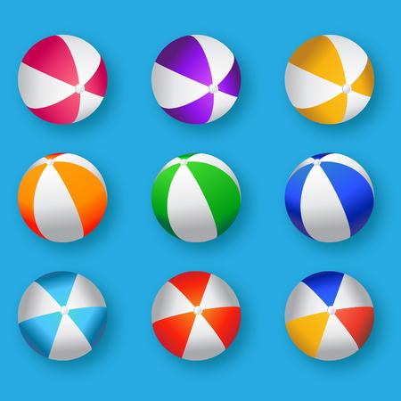 リアルのカラフルなビーチボールのイラストです。ビーチ ボール ベクトル セット - ゴムまたは青の背景にプラスチック材料です。