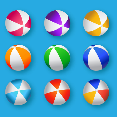 현실적인 다채로운 비치 볼 그림입니다. 해변 공 벡터 세트 - 고무 또는 플라스틱 소재 파란색 배경에.