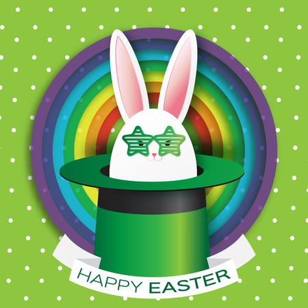 illusionist: Origami Green Greeting card with Happy Easter - with White Easter rabbit - green sunglasses. Bunny ears in magician or illusionist hat. Hiding rabbit. Spring Funny Bunny. Easter Bunny. Easter Egg Illustration