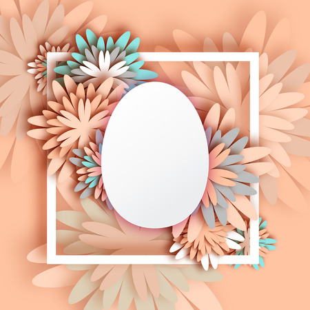 Abstract Pastel Greeting card - Happy Easter Day -  Spring Easter Egg. Holiday background with paper cut Frame Flowers.Trendy Design Template. Vector illustration.