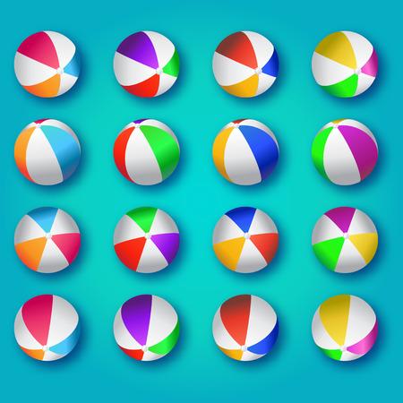 balon de voley: Realista ilustración balones de playa de colores. Pelotas de playa Vector Set - goma o de plástico en el fondo azul.