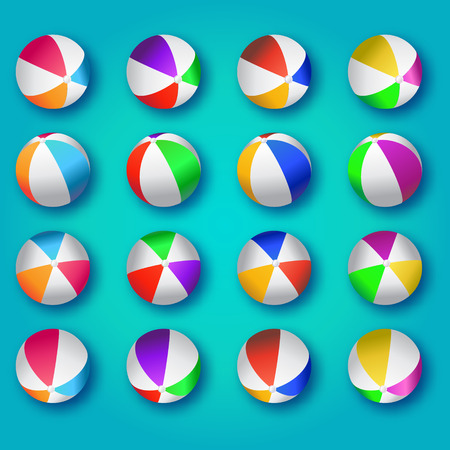 plastic material: Realistic Colorful Beach Balls Illustration. Beach Balls Vector Set - Rubber or Plastic Material on Blue Background. Illustration