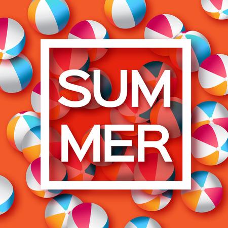 balon voleibol: Bolas realistas en Orange Beach - caucho o material plástico. Fondo con el título de Verano y Marco cuadrado en el centro sobre fondo azul. Ilustración del vector