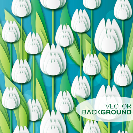applique flower: Abstract White Floral background - With Bunch of Spring Tulips. Paper cut flower holiday background. Applique Beautiful bouquet. Trendy Design Template. Vector illustration.