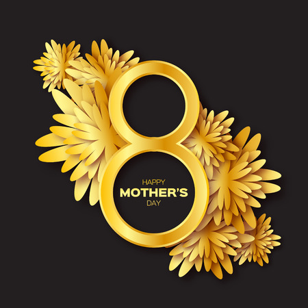 8 years birthday: Golden foil Floral Greeting card - Happy Mothers Day - 8 May- Gold sparkles holiday. Black background with paper cut Frame Flowers.Trendy Design Template for card, vip, certificate, gift, voucher. Illustration