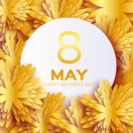 Golden foil Floral Greeting card - Happy Mother's Day - Gold sparkles holiday background with paper cut Frame Flowers. Trendy Design Template for card, vip, certificate, gift, voucher, present.