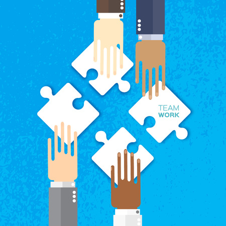 four hands: Four hands together team work. Hands of different colors, cultural and ethnic diversity. Business matching. Connecting puzzle elements. Make a puzzle on blue background. Vector illustration