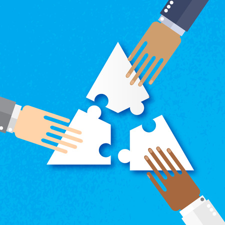 hands together: Three hands together team work. Hands of different colors, cultural and ethnic diversity. Business matching. Connecting puzzle elements. Make a puzzle on blue background. Vector illustration