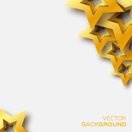xmas star: Abstract Origami Gold Stars on white vector background. Cosmic falling shining stars. Trendy Illustration for design Illustration