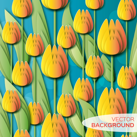 applique flower: Abstract Yellow Floral background - With Bunch of Spring Tulips. Paper cut flower holiday background. Applique Beautiful bouquet. Trendy Design Template. Vector illustration. Illustration