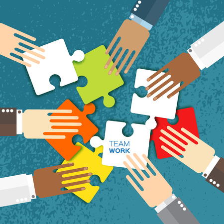 Hands together team work. Hands of different colors, cultural and ethnic diversity. Business matching. Connecting colorful puzzle elements. Make a puzzle on blue background. Vector illustration