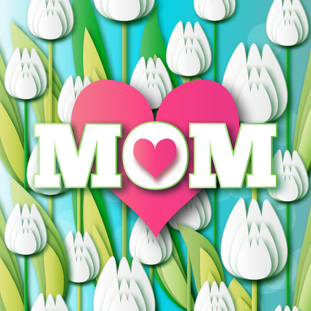bunch of hearts: Abstract White Floral Greeting card - Happy Mothers Day - MOM- and pink hearts with Bunch of Spring Tulips. Flower holiday background. Beautiful bouquet. Trendy Design Template. Vector illustration. Illustration