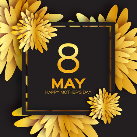 Golden foil Floral Greeting card - Happy Mother's Day - 8 May- Gold sparkles holiday. Black background with paper cut Frame Flowers.Trendy Design Template for card, vip, certificate, gift, voucher.