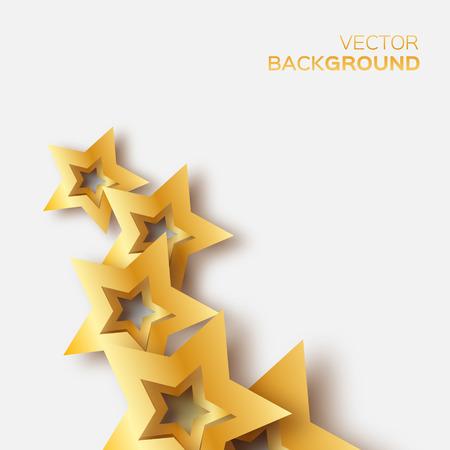 Abstrakt Origami Goldsterne auf weißem Vektor Hintergrund. Cosmic fallen leuchtenden Sternen. Trendy Illustration für Design