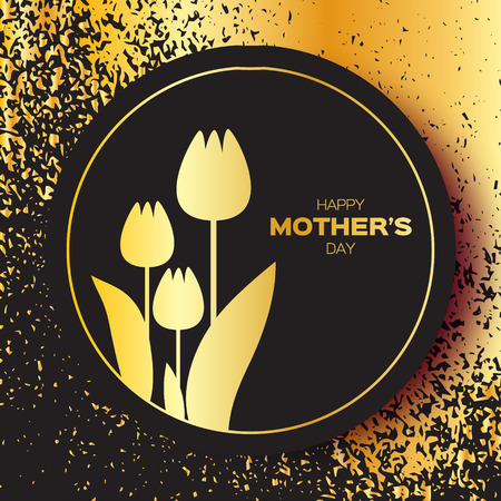 Golden foil Floral Greeting card - Happy Mother's Day - Gold Sparkles holiday black background with Spring Tulips. Paper cut Frame Flowers.Trendy Design Template for card, vip, gift, voucher, present.