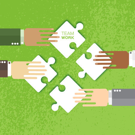 cultural diversity: Four hands together team work. Hands of different colors, cultural and ethnic diversity. Business matching. Connecting puzzle elements. Make a puzzle on green background. Vector illustration