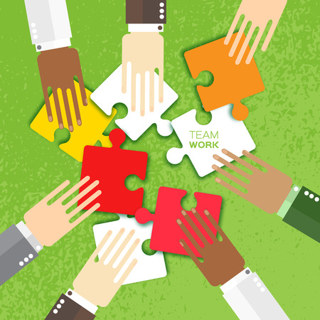 Hands together team work. Hands of different colors, cultural and ethnic diversity. Business matching. Connecting colorful puzzle elements. Make a puzzle on green background. Vector illustration
