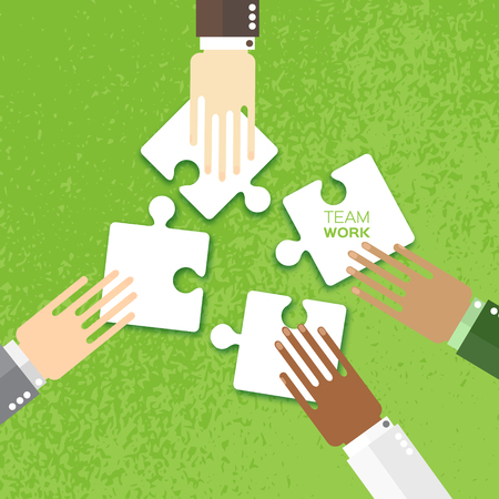 four hands: Four hands together team work. Hands of different colors, cultural and ethnic diversity. Business matching. Connecting puzzle elements. Make a puzzle on green background. Vector illustration
