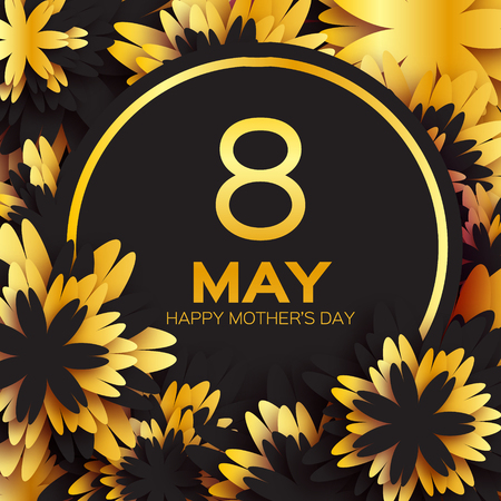 cut flowers: Golden foil Floral Greeting card - Happy Mothers Day - Gold sparkles holiday black background with paper cut Frame Flowers. Trendy Design Template for card, vip, certificate, gift, voucher, present.