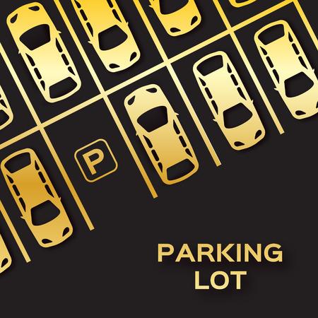 la hoja de oro Vista superior de diseño de estacionamientos. Muchos coches aparcados sobre fondo negro. Ilustración del vector.