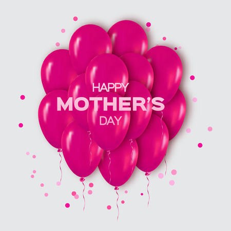blow up: Realistic 3d Pink Bunch of  Balloons Flying for Party and Celebrations with confetti. Trendy Design title element of International Happy Mothers day. Vector Illustration.