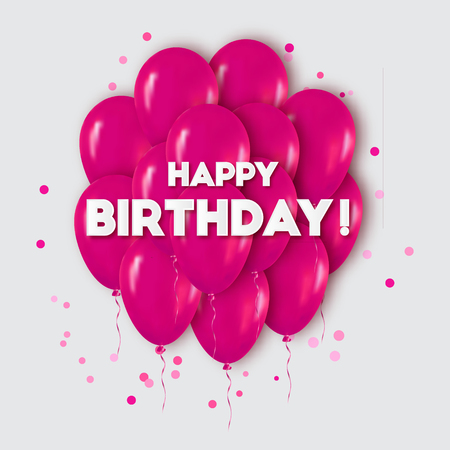 pink balloons: Realistic 3d Pink Balloons Flying for Party and Celebrations.Trendy Design element with Happy Birthday title and confetti on white background. Vector Illustration. Illustration