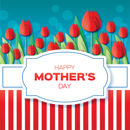 Red Floral Greeting card - International Happy Mothers Day - 8 May- with Bunch of Spring Tulips. Flower stripes holiday background. Beautiful bouquet. Trendy Design Template. Vector illustration. Illustration