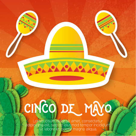 maraca: Mexican sombrero hat, maracas. Musical Instrument. Maraca, Mexico, Carnival, Percussion Instrument. Orange background with cactus. Vector illustration. Illustration