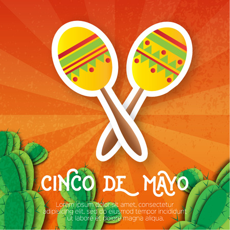 mexican background: Mexican maracas, succulent. Musical Instrument. Maraca, Mexico, Carnival, Percussion Instrument. Orange background with cactus. Vector illustration.