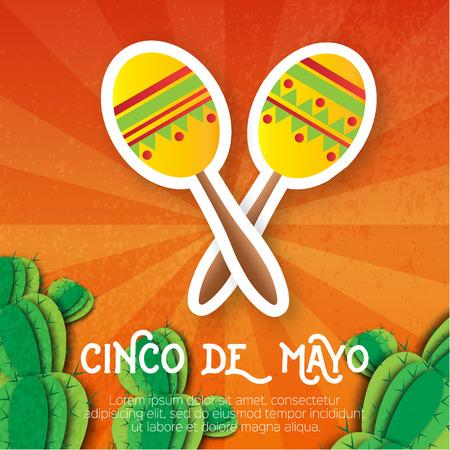 maraca: Mexican maracas, succulent. Musical Instrument. Maraca, Mexico, Carnival, Percussion Instrument. Orange background with cactus. Vector illustration.