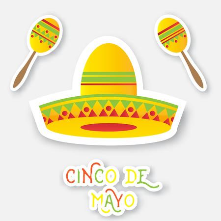 maracas: Mexican sombrero hat, maracas. Vector illustration.