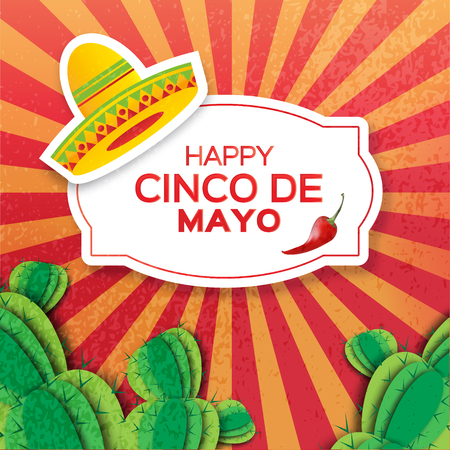 Mexican sombrero hat, succulents and red chili pepper jalapeno. Mexico, Carnival. Orange background with cactus. Vector illustration.