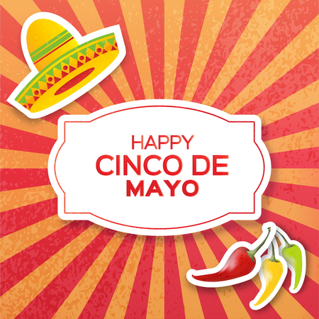 red jalapeno: Mexican sombrero hat and red, yellow, green chili pepper jalapeno. Mexico, Carnival. Orange background. Vector illustration.