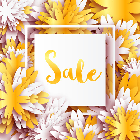 gold metal: Golden Foil Spring Summer Sale banner with frame for business. Applique Card with origami flowers. Offers message. Trendy Design Template for card, vip, gift, voucher, present. Vector illustration.
