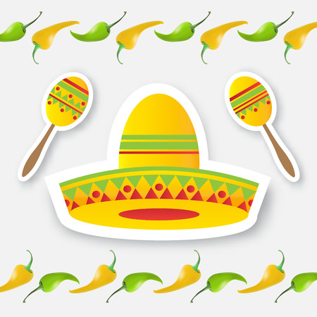 jalapeno: Mexican sombrero hat and red, yellow, green chili pepper jalapeno. Mexico, Carnival. Orange background. Vector illustration.