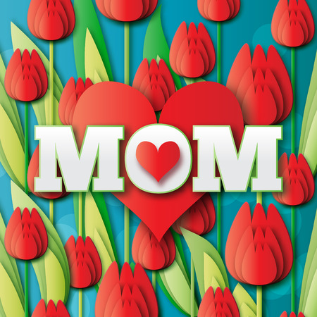bunch of hearts: Abstract Red Floral Greeting card - Happy Mothers Day - MOM- and red hearts with Bunch of Spring Tulips. Flower holiday background. Beautiful bouquet. Trendy Design Template. Vector illustration.