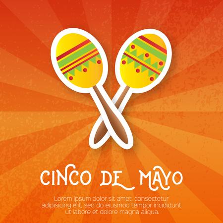 maraca: Maracas.Musical Instrument. Maraca, Mexico, Carnival, Percussion Instrument. Illustration