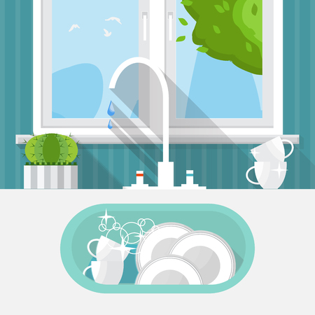 kitchen sink: Kitchen sink with clear kitchenware. Interior and window. Vector illustration