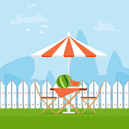 lawn chair: Summer picnic on the backyard. Outdoor recreation. Table with chairs,umbrella and watermelon. Vector illustration in flat style and blue background Illustration