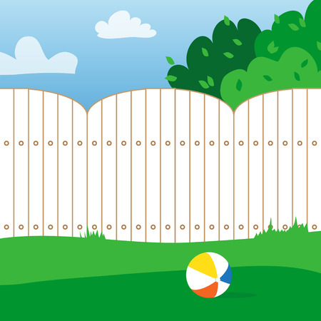 backyard: Rubber ball and grass field. House backyard. Playing ball inside the fence. Vector  illustrations. Illustration
